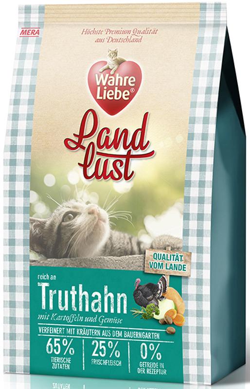 Корм сухой Wahre Liebe Landlust Truthahn, для кошек, беззерновой, с индейкой, 1,5 кг0120710Wahre Liebe - это корм, произведенный в Германии, он обладает превосходным вкусом и ароматом, которые не оставят равнодушной даже самую привередливую кошку. Ведущий ветеринарный врач завода Mera учел все потребности организма кошки, разработал идеальную формулу корма и назвал ее - Wahre Liebe, что в переводе с немецкого Истинная любовь.Wahre Liebe - не только подарит любовь и заботу питомцу, но и обеспечит его здоровьем и долголетием на всю жизнь.Корм Wahre Liebe это:- 68% свежего мяса,- устойчивая кишечная микрофлора и отличное пищеварение,- профилактика волосяных комочков,- поддержка иммунитета на клеточном уровне,- сбалансированное и полнорационное питание.Wahre Liebe - это истинная любовь для кошек с характером. Это истинно немецкое качество.Особенности:1) Беззерновой корм - исключает аллергические реакции у кошек на зерновые. 2) Корм холистик класса -при производстве корма используется только натуральные и высококачественные ингредиенты. Корма холистик класса отличаются высоким содержанием мяса в составе (до 70%).3) Профилактика волосяных комочков - целлюлоза (свекольный жом), содержащийся в корме препятствует формированию и задержанию шерсти в желудке и кишечнике кошки. 4) Устойчивая кишечная микрофлора и пищеварение - содержащиеся в составе корма про- и пребиотики благотворно влияют на работу кишечника, увеличивая количество полезной микрофлоры в нем. Состав: свежее мясо курицы (25%), картофельные хлопья, белок индейки (14%, сушеный), белок птицы (14%, сушеный), жир домашней птицы (5,5%), лигноцеллюлоза, свеклович-ный сухой жом, белок птицы (3%, гидролизованный), яйца (2%, сушеные), картофельный белок, пивные дрожжи (сушеные), масло лосося (0,5%), хлорид натрия, подсолнечное масло (0,2%), петрушка, листья сельдерея, листья любистока, анис, розмарин, кориандр, подорожник, цикорий (инулин), морковь (сушеная), тыква (сушеная), яблоко (сушеное), масло огуречника.Товар серти