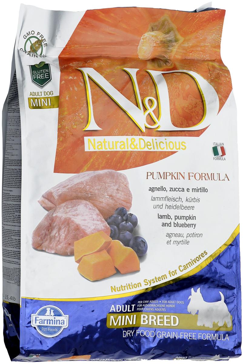 Корм сухой Farmina N&D для собак мелких пород, беззерновой, с ягненком, черникой и тыквой, 7 кг0120710Сухой корм Farmina N&D является беззерновым и сбалансированным питанием для собак мелких пород. Изделие имеет высокое содержание витаминов и питательных веществ. Сухой корм содержит натуральные компоненты, которые необходимы для полноценного и здорового питания домашних животных.Товар сертифицирован.