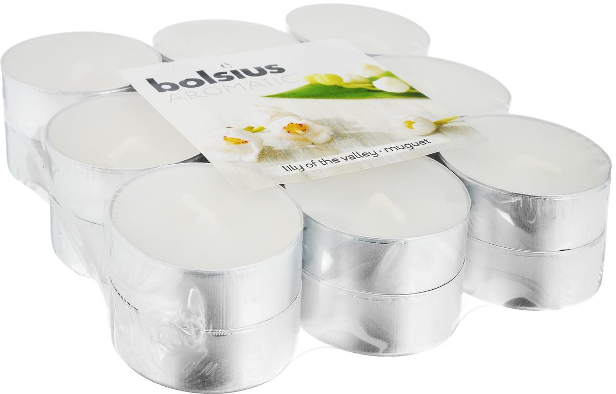 Свеча ароматическая чайная Bolsius Ландыш, 18 шт103626949303Свеча ароматическая Bolsius Ландыш создаст в доме атмосферу тепла и уюта. Чайная свеча в металлической подставке приятно смотрится в интерьере, она безопасна и удобна в использовании. Свеча создаст приятное мерцание, а сладкий манящий аромат окутает вас и подарит приятные ощущения. Время горения: 4 ч.