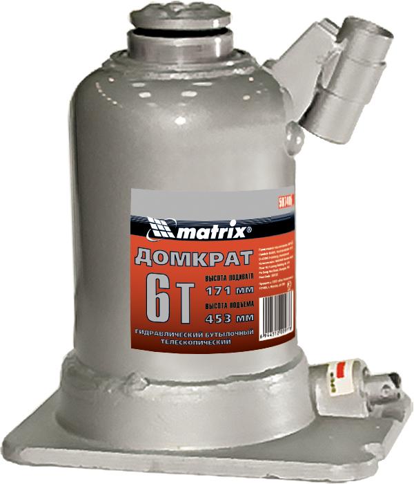 Домкрат гидравлический бутылочный телескопический Matrix, 6 т, подъем 171–453 мм507405Гидравлический домкрат с телескопическим механизмом MATRIX предназначен для подъема груза массой до 6 тонн. Домкрат является незаменимым инструментом в автосервисе, часто используется при проведении ремонтно-строительных работ. Минимальная высота подхвата домкрата MATRIX составляет 17,1 см. Максимальная высота подъема благодаря телескопическому механизму составляет 45,3 см. ВНИМАНИЕ! Домкрат не предназначен для длительного поддерживания груза на весу либо для его перемещения. Перед подъемом убедитесь, что груз распределен равномерно по центру опорной поверхности домкрата. Масса поднимаемого груза не должна превышать массу, указанную производителем. Домкрат во время работы должен быть установлен на горизонтальной ровной и твердой поверхности. После поднятия груза необходимо использовать специальные стойки-подставки для его поддерживания. Запрещается производить любого вида работы под поднятым грузом при отсутствии поддерживающих его подставок. Перед началом работы ознакомьтесь с...