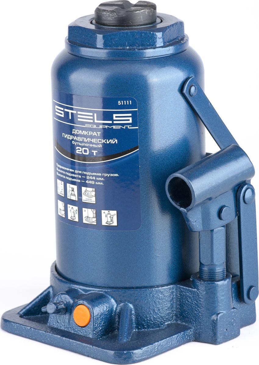 """Домкрат гидравлический бутылочный """"Stels"""", 20 т, высота подъема 244–449 мм 51111"""