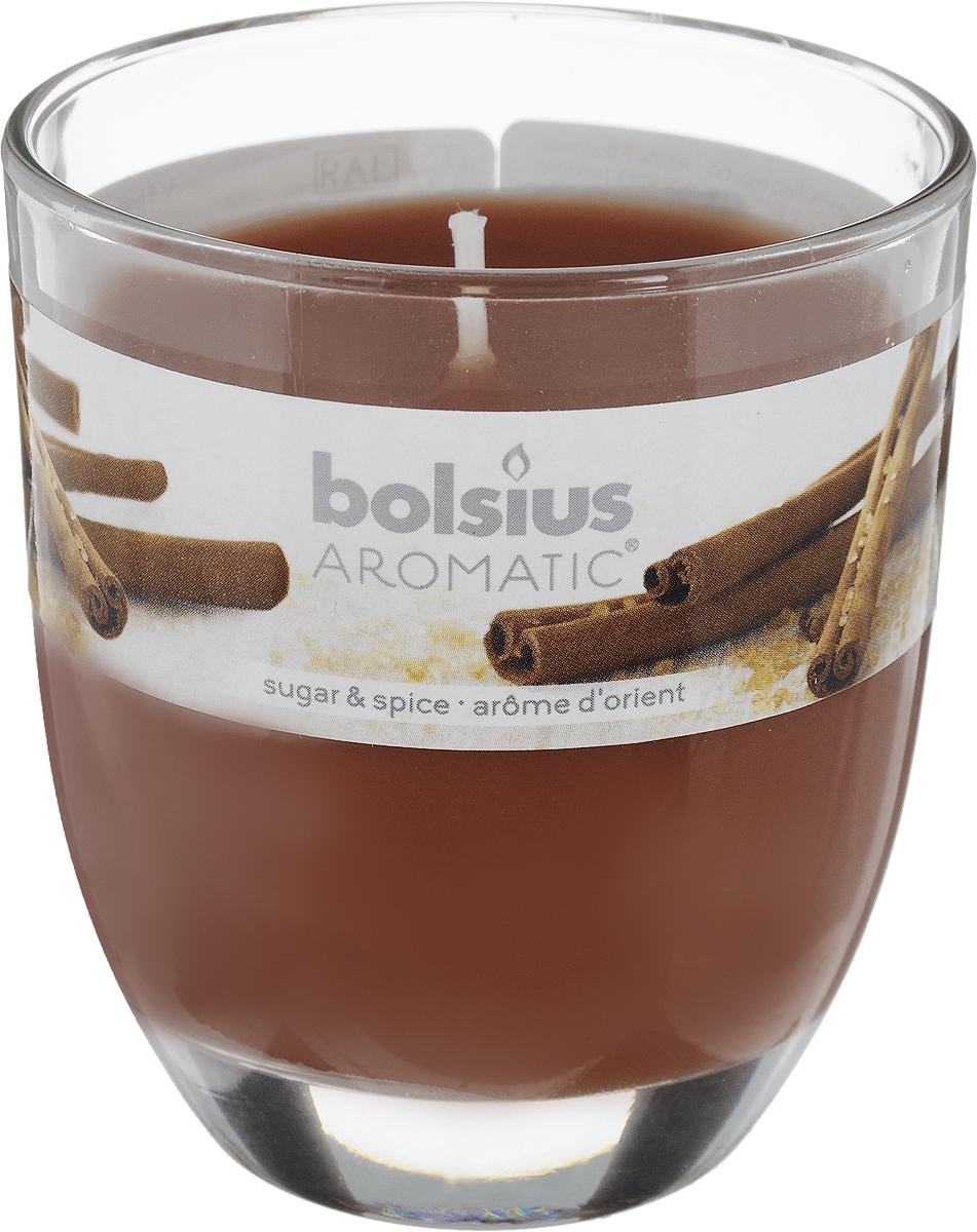 Свеча ароматическая Bolsius Пряность, 7 х 7 х 8 смFS-91909Ароматизированная свеча Bolsius Пряность изготовлена из воска и поставляется в подсвечнике в виде стеклянного стакана. Изделие отличается оригинальным дизайном и приятным ароматом. Такая свеча может стать отличным подарком или дополнить интерьер вашей комнаты.