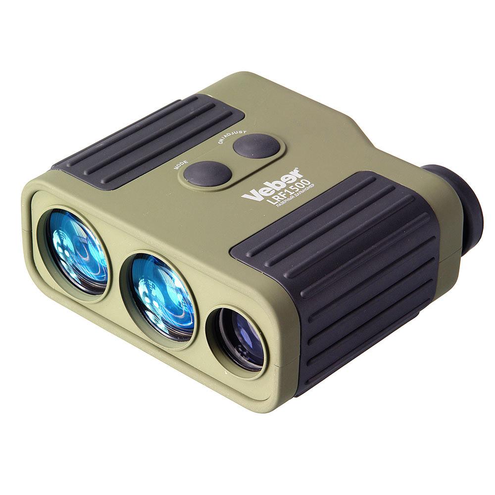 Монокуляр Veber, с дальномером, цвет: зеленый, 7x25 LRF150011101Дальность измерения до 1500 м, 4 режима измерения: стандартный, RAIN, REFL, >150 м. Монокуляр 7х, диаметр объектива 25 мм. Три раздельных оптических канала, для надежности измерения линзы излучателя и приемника имеют увеличенный диаметр, отверстие 1/4 для штатива.ОПИСАНИЕ Высококачественная оптика в прочном влагозащищенном корпусеЛегкий в использовании дальномер, предназначен для быстрого определения расстояния до цели с учетом работы в различных погодных условиях. Корпус влагозащищенной конструкции имеет покрытие soft-touch с черными рифлеными резиновыми вставками. Окуляр с возможностью диоптрийной коррекции, имеет заворачивающийся резиновый наглазник — для удобства наблюдения в обычных или солнцезащитных очках. Широко применяется в различных сферах деятельности: на охоте и в стрелковых видах спорта (для введения необходимых поправок на нужную дистанцию стрельбы), походах, горном туризме и т.д. Три оптических канала: канал лазера (ИК-диапазона, безопасный для зрения), канал приемника отраженного сигнала, канал монокуляра (диаметр объектива 25 мм, 7х увеличение, ближняя точка фокусировки 4 метра). Наличие раздельных оптических каналов приемника и передатчика позволяет не только повысить точность измерений , но и увеличить дистанцию измерения при неблагоприятных условиях наблюдения (во время дождя, тумана и т.д.). С этой же целью увеличены и диаметры объективов приемника и передатчика лазерного луча, светосила 35 мм объективов в два раза выше по сравнению с такими же линзами диаметра 25 мм. Эргономичные элементы управления и быстродействующая LCD индикация не позволят упустить цель. Питание лазерного дальномера осуществляется от батарейки типа Крона (в комплект не входит). Две кнопки позволяют управлять всеми функциями дальномера, интуитивный интерфейс поможет быстро выбрать режим и произвести замер дистанции. Точное наведение на цельVeber 7x25 LRF1500 определяет расстояние до цели на удалении до 1500 м.