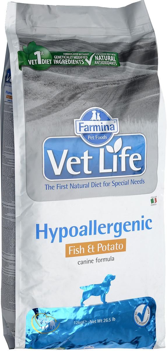 Корм сухой Farmina Vet Life, для собак с пищевой аллергией или пищевой непереносимостью, диетический, с рыбой и картофелем, 12 кг25418Корм сухой Farmina Vet Life - это гипоаллергенное диетическое питание для собак, страдающих пищевой аллергией или пищевой непереносимостью. Также рекомендовано, как вспомогательное средство для улучшения трофических функции кожи и ее производных. Корм Farmina Vet Life содержит единственный источник белка животного происхождения - дикая рыба Северного моря (сельдь) и единственный источник углеводов - картофель, что обеспечивает гипоаллергенные свойства продукта. Повышенное содержание независимых жирных кислот способствует снижению воспалительных процессов в коже и ее производных. Рекомендации по кормлению: использовать по назначению ветеринарного врача. Товар сертифицирован.