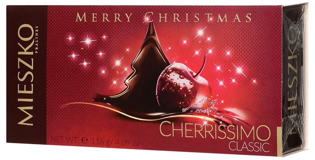 Mieszko Конфеты Черриссимо Новый год, 116 г0120710Шоколадные конфеты Черрисимо - это набор шоколадных конфет с начинкой. Каждая конфета изготовлена из натурального шоколада, с начинкой из вишни в ликере. Удобная и красочная упаковка делают эти конфеты не только прекрасным лакомством, но и отличным подарком для родных и близких.Уважаемые клиенты! Обращаем ваше внимание, что полный перечень состава продукта представлен на дополнительном изображении.Уважаемые клиенты! Обращаем ваше внимание на то, что упаковка может иметь несколько видов дизайна. Поставка осуществляется в зависимости от наличия на складе.
