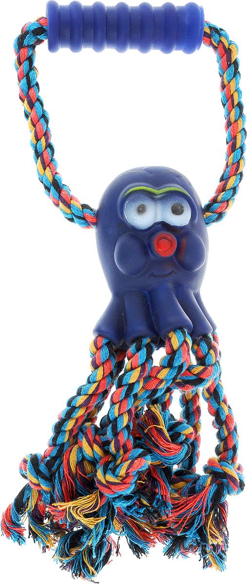 """Игрушка для собак Каскад """"Канат. Осьминог"""", с пищалкой, цвет: синий, красный, желтый, длина 30 см 27799300_синий"""