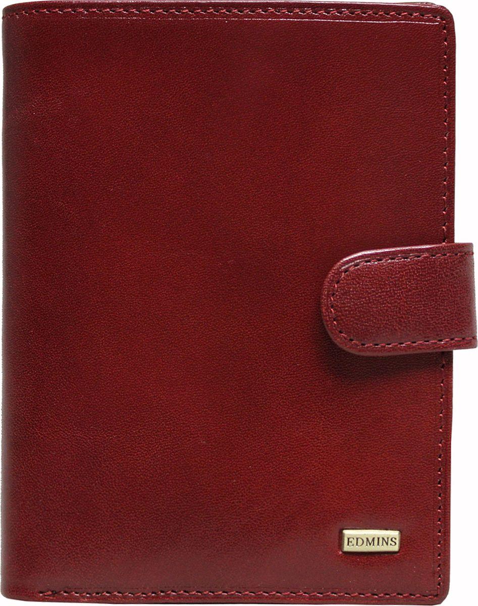 Обложка для документов женская Edmins, цвет: красный. 2242 ML ED2242 ML ED redОбложка для документов Edmins выполнена из натуральной кожи с естественной фактурой и оформлена металлическим элементом с символикой бренда. Подкладка изготовлена из полиэстера. Изделие раскладывается пополам и закрывается хлястиком на кнопку. Внутри размещены несколько накладных кармашков из прозрачного ПВХ, накладные карманы для карточек и визиток, а также горизонтальное отделение для купюр или бумаг. В коллекциях кожгалантереи Edmins удачно сочетаются итальянская классика и шведский прагматизм, новаторство молодых дизайнеров и работы именитых мастеров, строгая цветовая гамма и смелые эксперименты с цветом. Изделия Edmins, разработанные в Италии, отличает высокое качество кожи, прекрасная износостойкость и актуальность коллекций. Изделие упаковано в фирменную коробку.