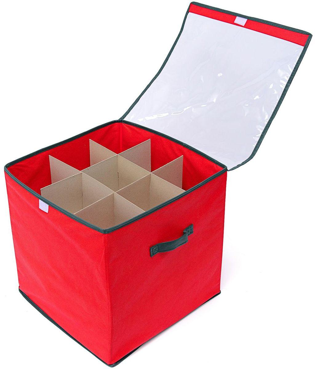 Коробка с делениями Homsu New Year, 30х40х25 см, цвет: красныйES-412Коробка с крышкой оптимального размера 30х40х25 см, оснащена делениями из картона, прекрасно подходит для хранения ёлочных шаров и других украшений. Выполнена в традиционной новогодней расцветке. Размер изделия: 30х40х25см.