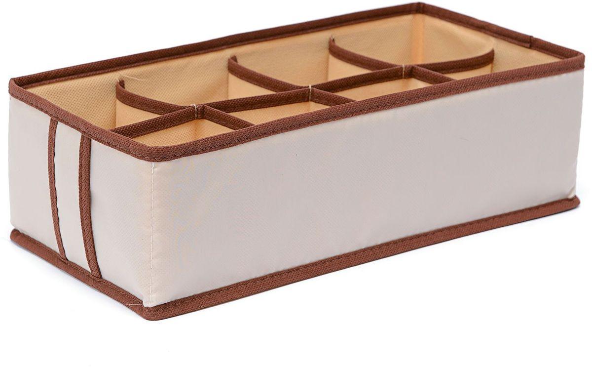 Органайзер Homsu Bora-Bora, на 8 секций, 33х16х11 см, цвет: бежевыйHOM-747Прямоугольный органайзер имеет 8 ячеек, очень удобен для хранения вещей среднего размера в вашем ящике или на полке. Идеально для бюстгальтеров, нижнего белья и других вещей ежедневного пользования. Имеет жесткие борта, что является гарантией сохранности вещей. Размер изделия: 33х16х11см.
