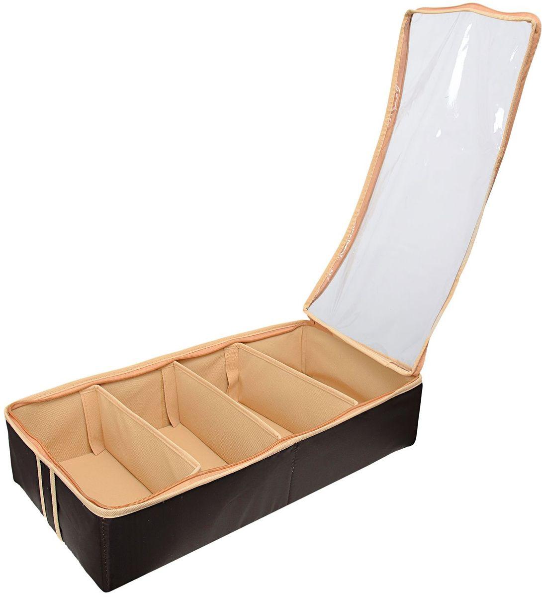 Органайзер Homsu Costa-Rica, для обуви на 4 бокса, 51х25х12 см, цвет: коричневыйHOM-752Очень удобный способ хранить сезонную обувь. Четыре отделения размером 10Х5см вмещают 4 пары обуви. Органайзер плоский, удобно хранить под кроватью или диваном. Внутренние секции можно моделировать под размеры обуви, например высокие сапоги. Имеет жесткие борта, что является гарантией сохранности вещей. Размер изделия: 51х25х12см.
