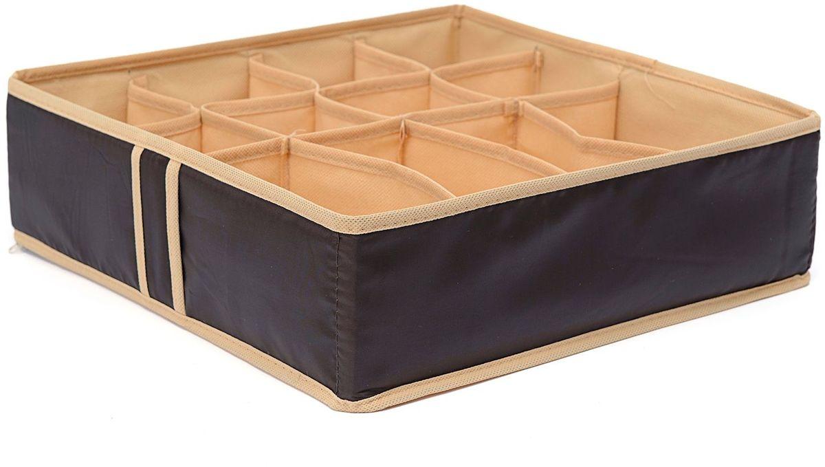 Органайзер Homsu Costa-Rica, на 12 секций, 35х35х10 см, цвет: коричневыйHOM-753Квадратный и плоский органайзер имеет 12 раздельных ячеек, 8 ячеек размером 8Х8см и 4 ячейки размером 8Х16см, очень удобен для хранения мелких вещей в вашем ящике или на полке. Идеально для носков, платков, галстуков и других вещей ежедневного пользования. Имеет жесткие борта, что является гарантией сохранности вещей. Размер изделия: 35х35х10см.