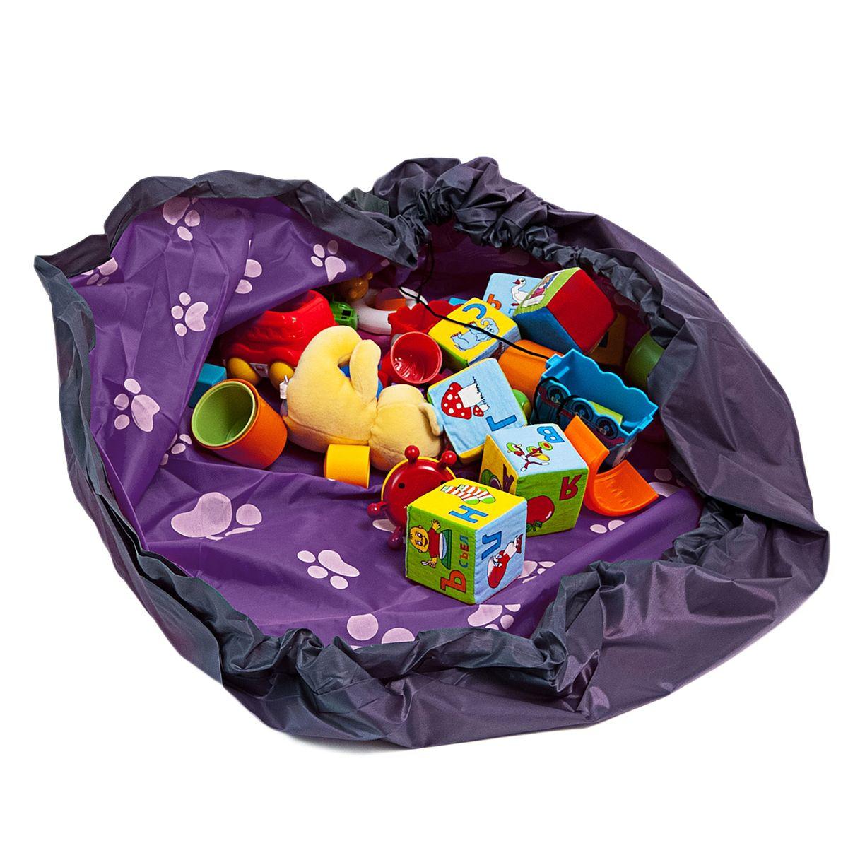 Сумка-коврик Homsu Лужайка, цвет: фиолетовый, 150х150 смR-110Сумка-коврик это оригинальный способ хранения и транспортировки детских игрушек. В разложенном состоянии - это поле для игры, а когда нужно собрать игрушки, он затягивается на шнурок и превращается в удобную сумку. Выполнен из прочного, но мягкого канваса. Размер изделия: 150х150см