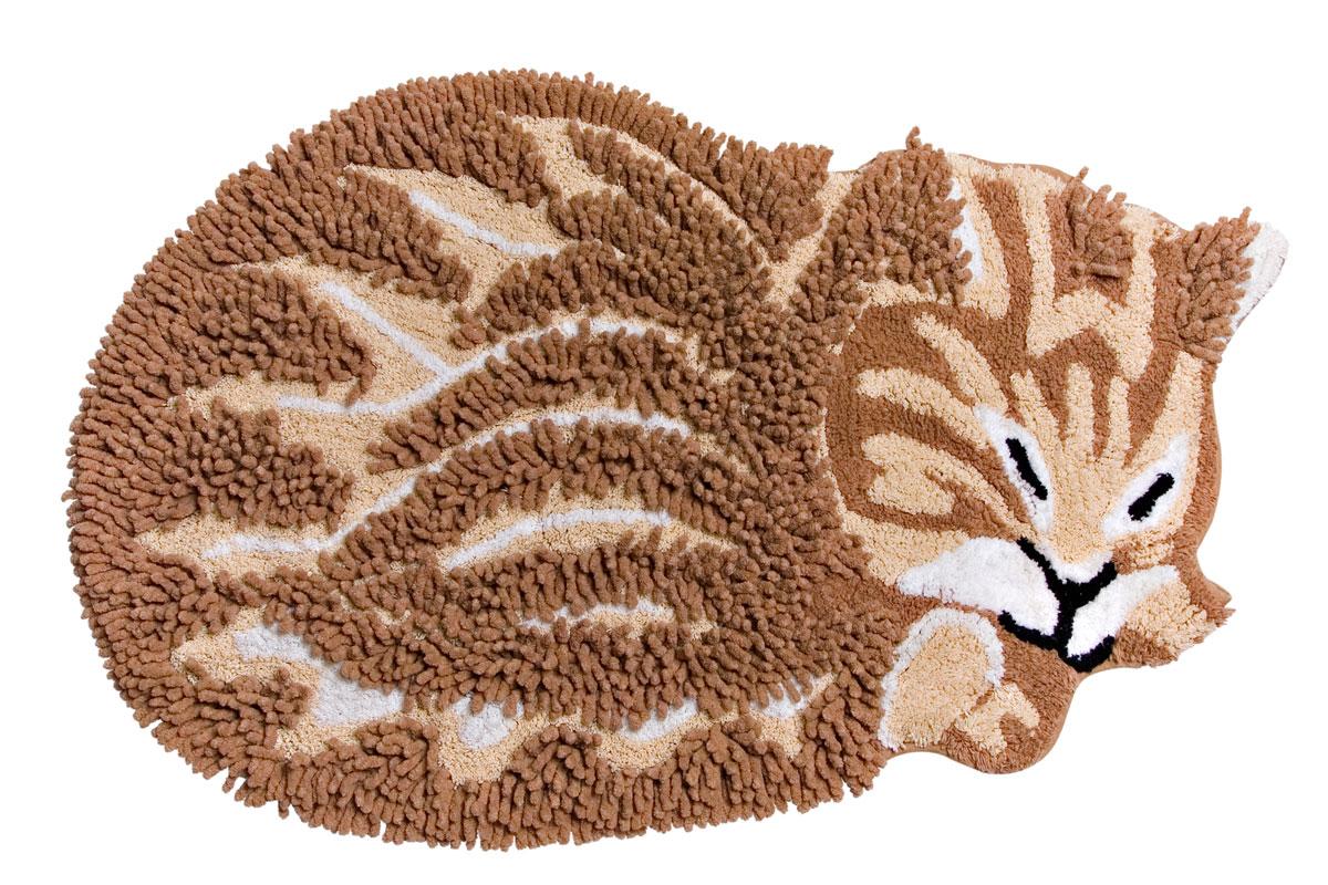 Коврик прикроватный Arloni Кошка, цвет: светло-коричневый, 50 х 80 см1209.3