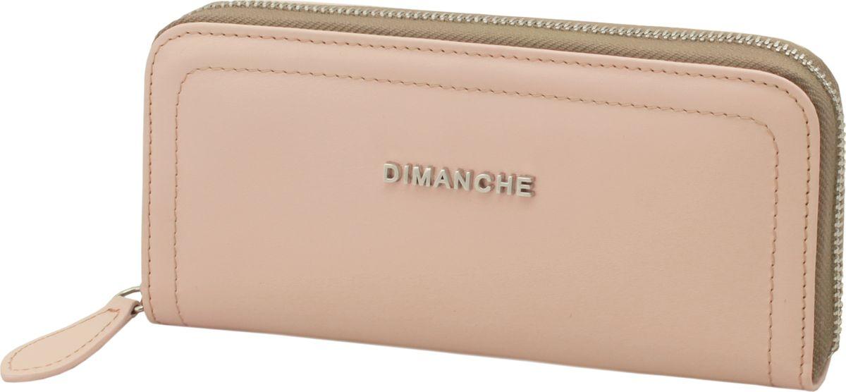 Портмоне женское Dimanche Премиум, цвет: бежево-розовый. 675/57ICE 8508Портмоне Dimanche, выполненное из натуральной кожи, оформлено прострочкой и металлической пластинкой с названием бренда. Изделие закрывается с помощью застежки-молнии. Внутри расположено четыре отделения для купюр и карман для мелочи на молнии. Также внутринаходятся четыре кармана для банковских и дисконтных карт и два открытых накладных кармана, одно из которых на молнии.