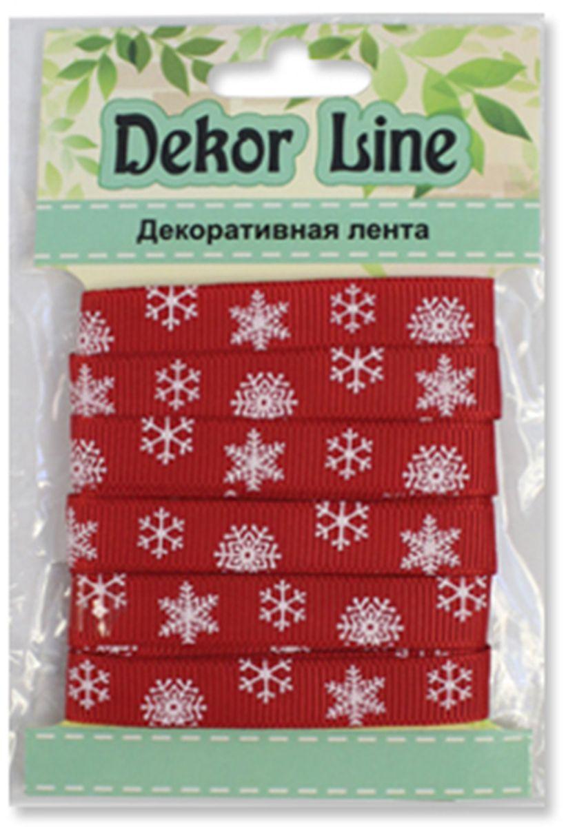 Лента репсовая Xiamen Midi Ribbons Снежинки, цвет: красный, 10 мм х 3 м7710471_красный