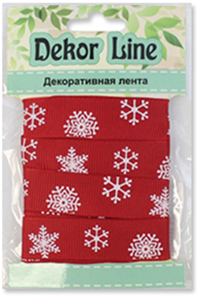 Лента репсовая Xiamen Midi Ribbons Снежинки, цвет: красный, 15 мм х 3 м7710491_красный