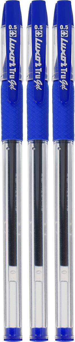 Luxor Набор гелевых ручек Tru Gel цвет синий 3 штPP-207Набор гелевых ручек Luxor Tru Gel состоит из трех ручек с синими чернилами. Они отлично подойдут и для школьных занятий, и просто для подчеркивания.Ручки рисуют яркими насыщенными цветами. Корпуса с удобными каучуковыми вставками изготовлены из качественного прозрачного пластика. Колпачки ручек дополнены практичным клипом. Чернила на водной основе легко смываются с кожи и отстирываются с большинства тканей.Набор гелевых ручек станет незаменимой канцелярской принадлежностью для вас или для вашего ребенка.