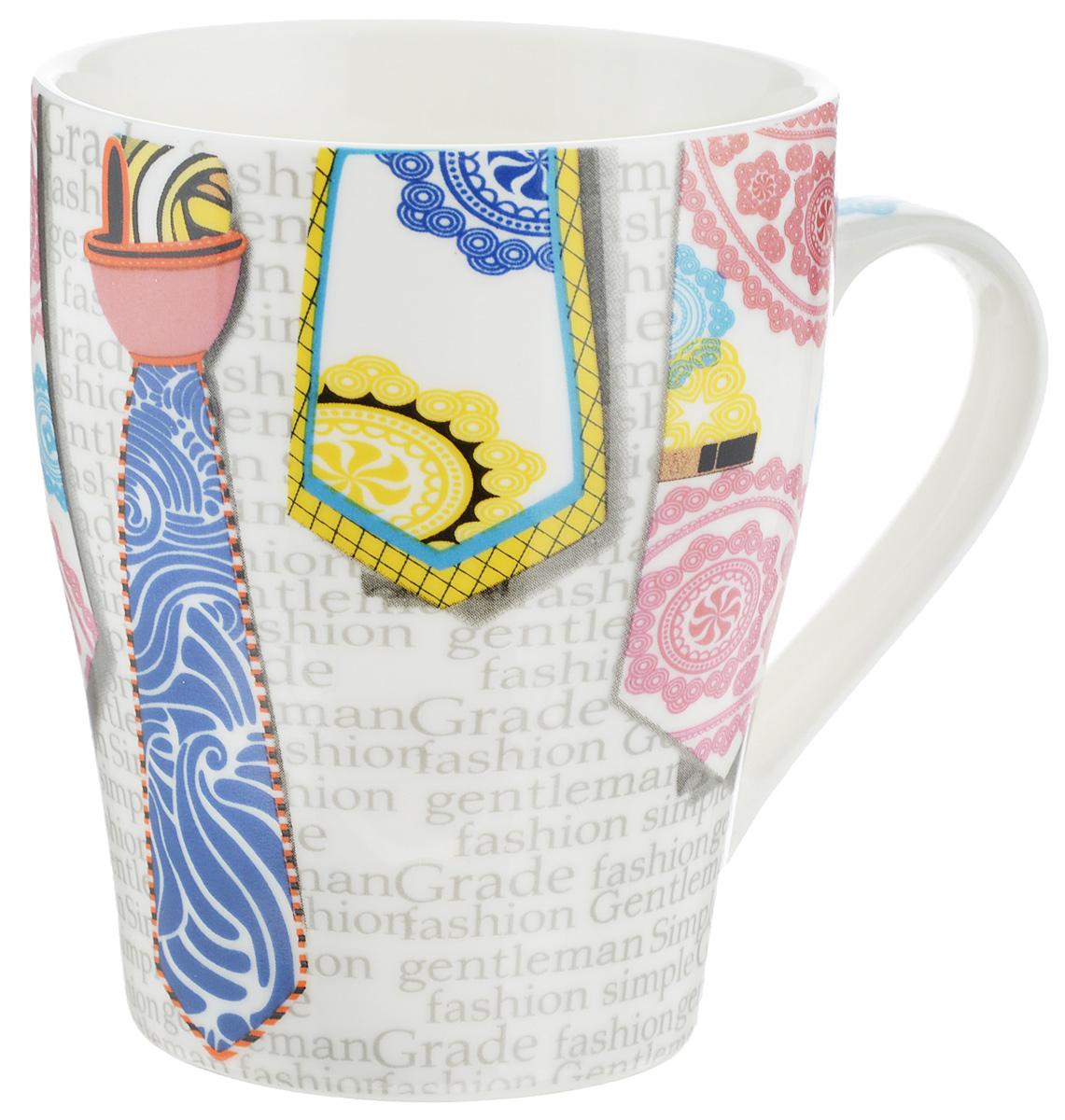 Кружка Loraine Галстук, цвет: белый, розовый, голубой, 340 мл24461_голубойОригинальная кружка Loraine Галстук выполнена из костяного фарфора и оформлена красочным рисунком. Она станет отличным дополнением к сервировке семейного стола и замечательным подарком для ваших родных и друзей. Диаметр по верхнему краю: 8 см.