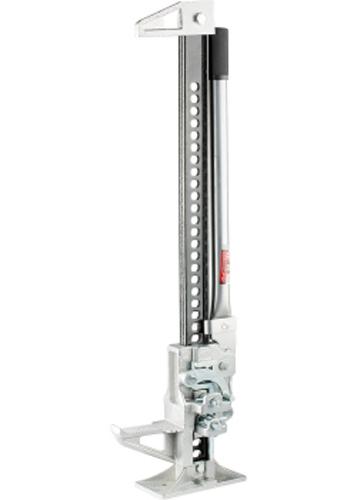 Домкрат реечный Matrix, 3 т, высота подъема 155–1350 мм, High Jack505195Благодаря особой конструкции, домкраты осуществляют быстрый подъем автомобиля на довольно большую высоту (до 1350 мм, модель 50519). Пошаговый механизм домкратов обеспечивает возможность плавного подъема и опускания под нагрузкой. Наличие зацепной петли на конце несущей рейки позволяет использовать инструмент в качестве ручной лебедки.