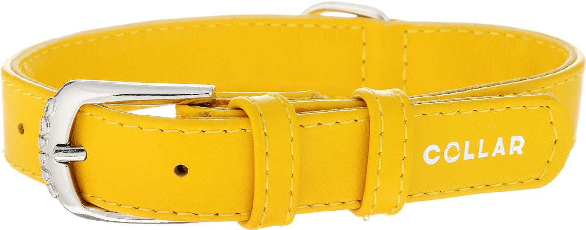 Ошейник для собак CoLLaR Glamour, цвет: желтый, ширина 2 см, обхват шеи 30-39 см32938Ошейник CoLLaR Glamour изготовлен из натуральной кожи, устойчивой к влажности и перепадам температур. Клеевой слой, сверхпрочные нити, крепкие металлические элементы делают ошейник надежным и долговечным. Изделие отличается высоким качеством, удобством и универсальностью. Размер ошейника регулируется при помощи металлической пряжки. Имеется металлическое кольцо для крепления поводка. Ваша собака тоже хочет выглядеть стильно! Такой модный ошейник станет для питомца отличным украшением и выделит его среди остальных животных. Минимальный обхват шеи: 30 см. Максимальный обхват шеи: 39 см. Ширина: 2 см.