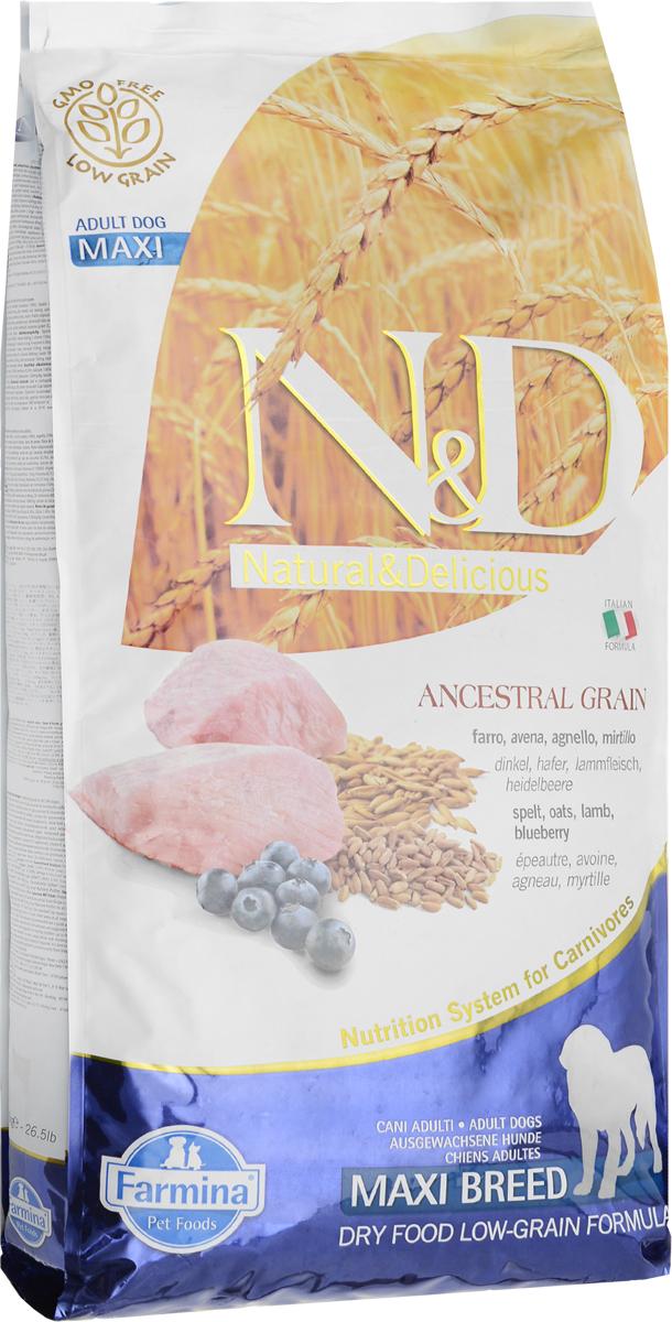 Корм сухой Farmina N&D для собак крупных пород, низкозерновой, с ягненком и черникой, 12 кг0120710Сухой корм Farmina N&D является низкозерновым и сбалансированным питанием для взрослых собак крупных пород. Изделие имеет высокое содержание витаминов и питательных веществ. Сухой корм содержит натуральные компоненты, которые необходимы для полноценного и здорового питания домашних животных. Линия продуктов Farmina N&D - это сухие корма для собак, рецептура которых построена по принципу питания плотоядных животных. Товар сертифицирован.