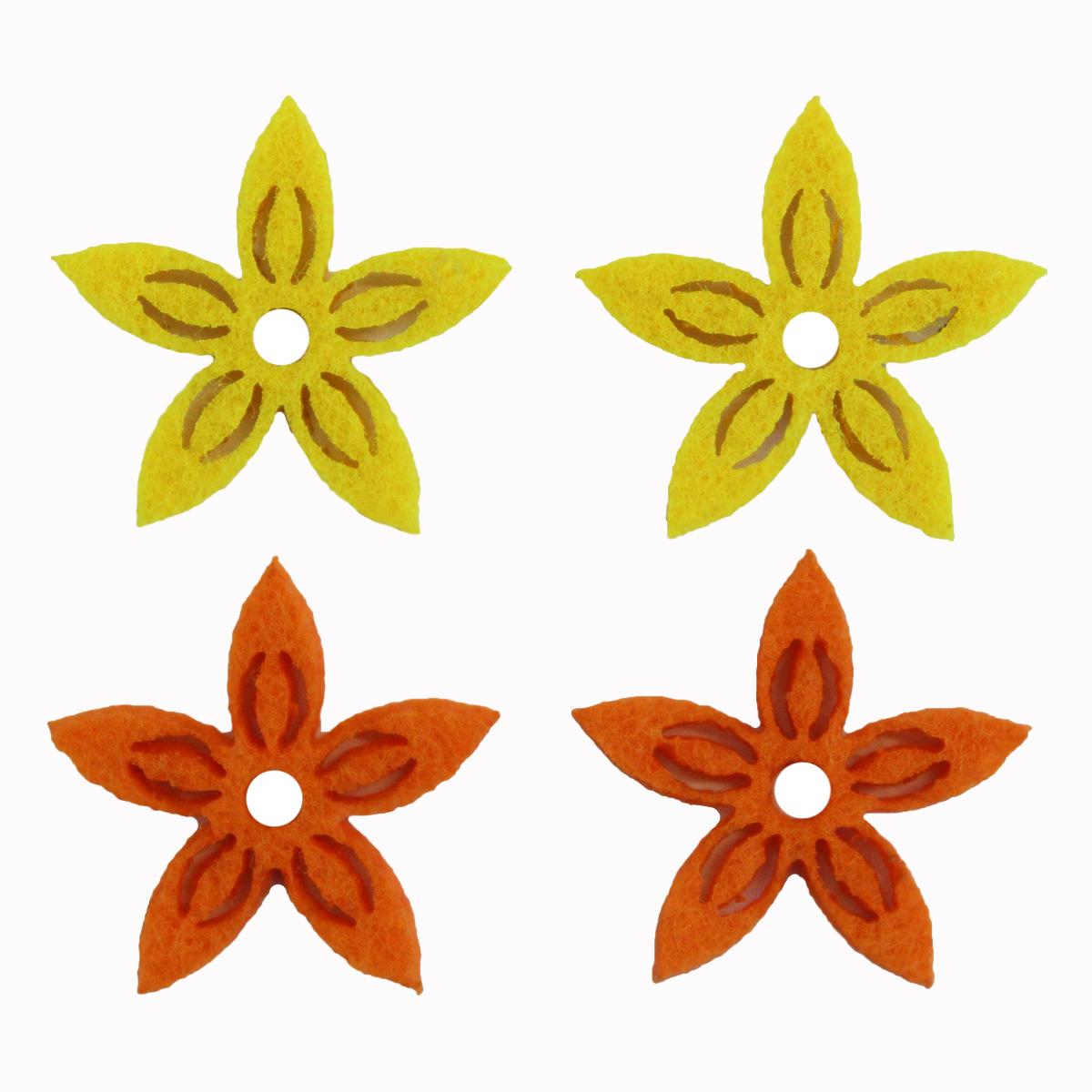 Фигурки из фетра Glorex Цветы, цвет: желтый, оранжевый, 3 см, 12 шт318686Фетр пользуется большой популярностью среди рукодельниц. Его любят за эстетичный вид, практичность и отличную текстуру. Из данного материала вашему вниманию предлагаются заготовки Glorex. Широкое разнообразие цветов и форм поможет реализовать творческие задумки и гармоничным образом дополнить ваше творение. Из фетра можно создавать обложки для книг, ежедневников, игрушки, декоративные чехлы для подушек и многое, многое другое.