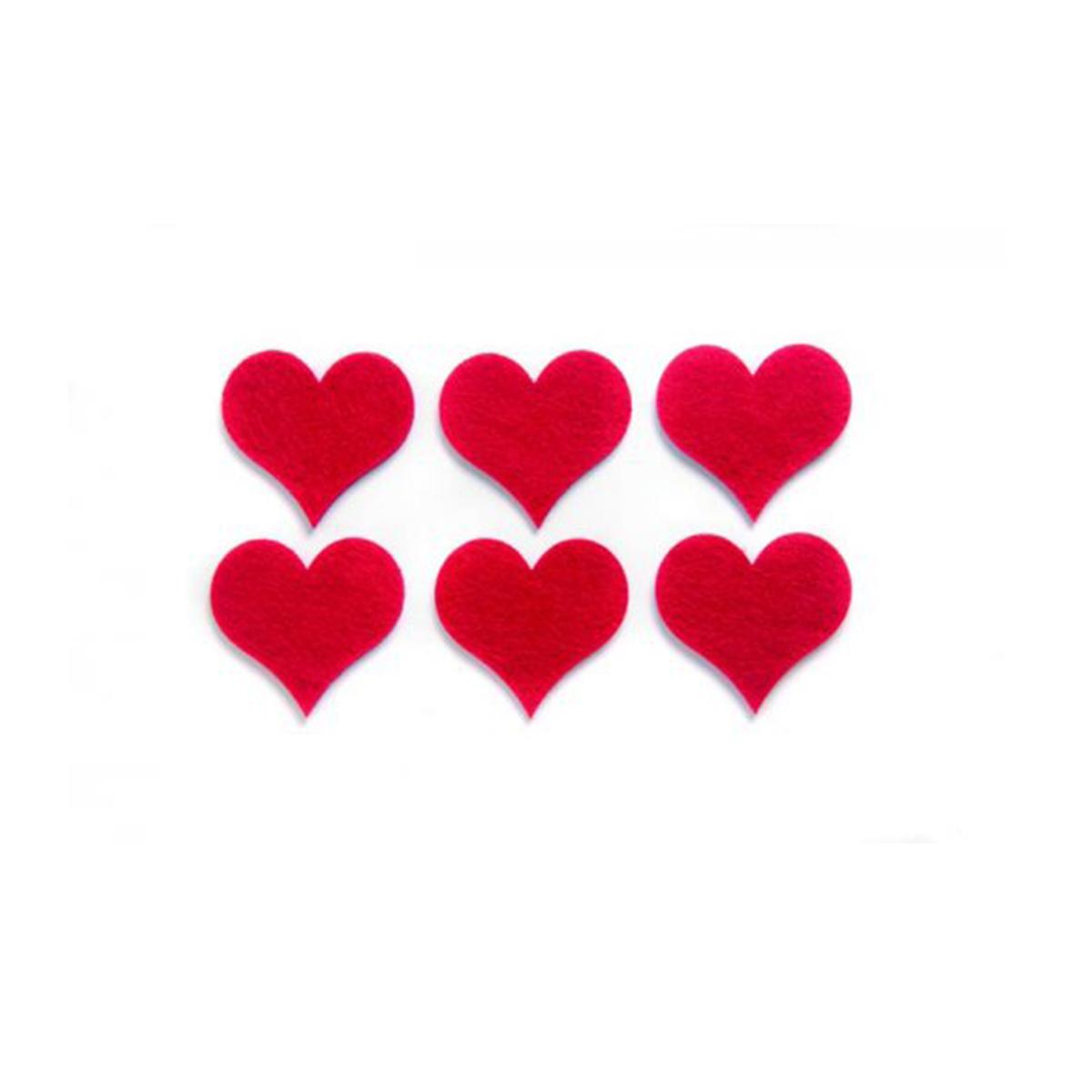 Фигурки из фетра Glorex Сердца, цвет: красный, 6 см, 6 шт318688Фетр пользуется большой популярностью среди рукодельниц. Его любят за эстетичный вид, практичность и отличную текстуру. Из данного материала вашему вниманию предлагаются заготовки Glorex. Широкое разнообразие цветов и форм поможет реализовать творческие задумки и гармоничным образом дополнить ваше творение. Из фетра можно создавать обложки для книг, ежедневников, игрушки, декоративные чехлы для подушек и многое, многое другое.