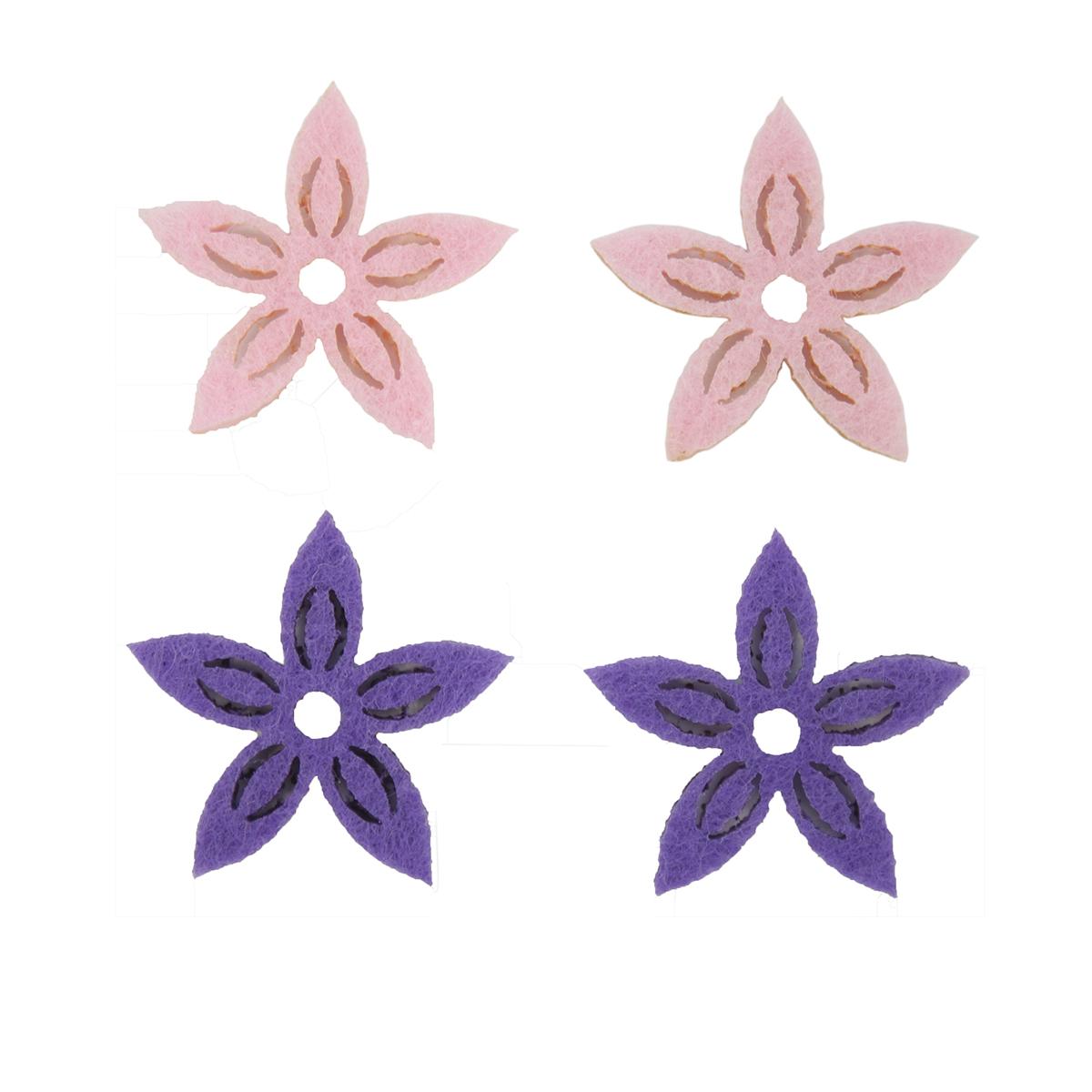 Фигурки из фетра Glorex Цветы, цвет: розовый, фиолетовый, 3 см, 12 шт7704445