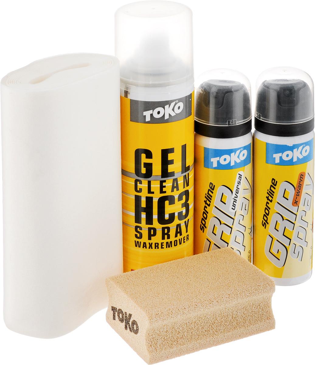 Набор для обработки лыж Toko Sport Line Grip Spray, 5 предметов(5508784) [4020-00060]Набор Sport Line Grip Spray - это идеальный помощник при занятии лыжным спортом. В набор входят: смывка, два спрея, специальная пробка и ткань для обработки поверхностей. Смывка-спрей предназначен для очистки колодки на лыжах. Спреи предназначены для держания при отталкивания в разных температурных условиях. Специальная ткань и пробка помогут вам обработать лыжи быстро и качественно. Порадуйте себя качественным и полезным набором. Объем гель-спрея Gel Clean: 150 мл. Объем спрея Grip Spray Universal: 70 мл. Объем спрея Grip Spray X-warm: 70 мл. Размер пробки: 7,7 х 5 х 3 см. Товар сертифицирован.
