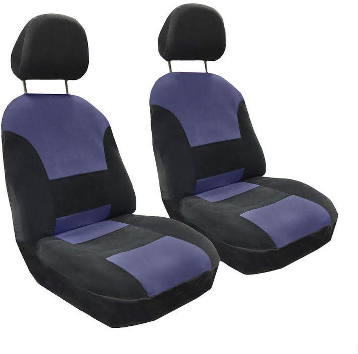 Набор автомобильных чехлов Auto Premium Флагман, цвет: черный, синий, 4 предмета57102Комлект универсальных чехлов на передние сиденья выполнен из велюра, предназначен для передних кресел автомобиля. На задней спинке чехла расположен вшивной карман. В комплект входят съемные чехлы для подголовников .Практичный и долговечный комплект чехлов для передних сидений надежно защищает сиденье водителя и пассажира от механических повреждений, загрязнений и износа.