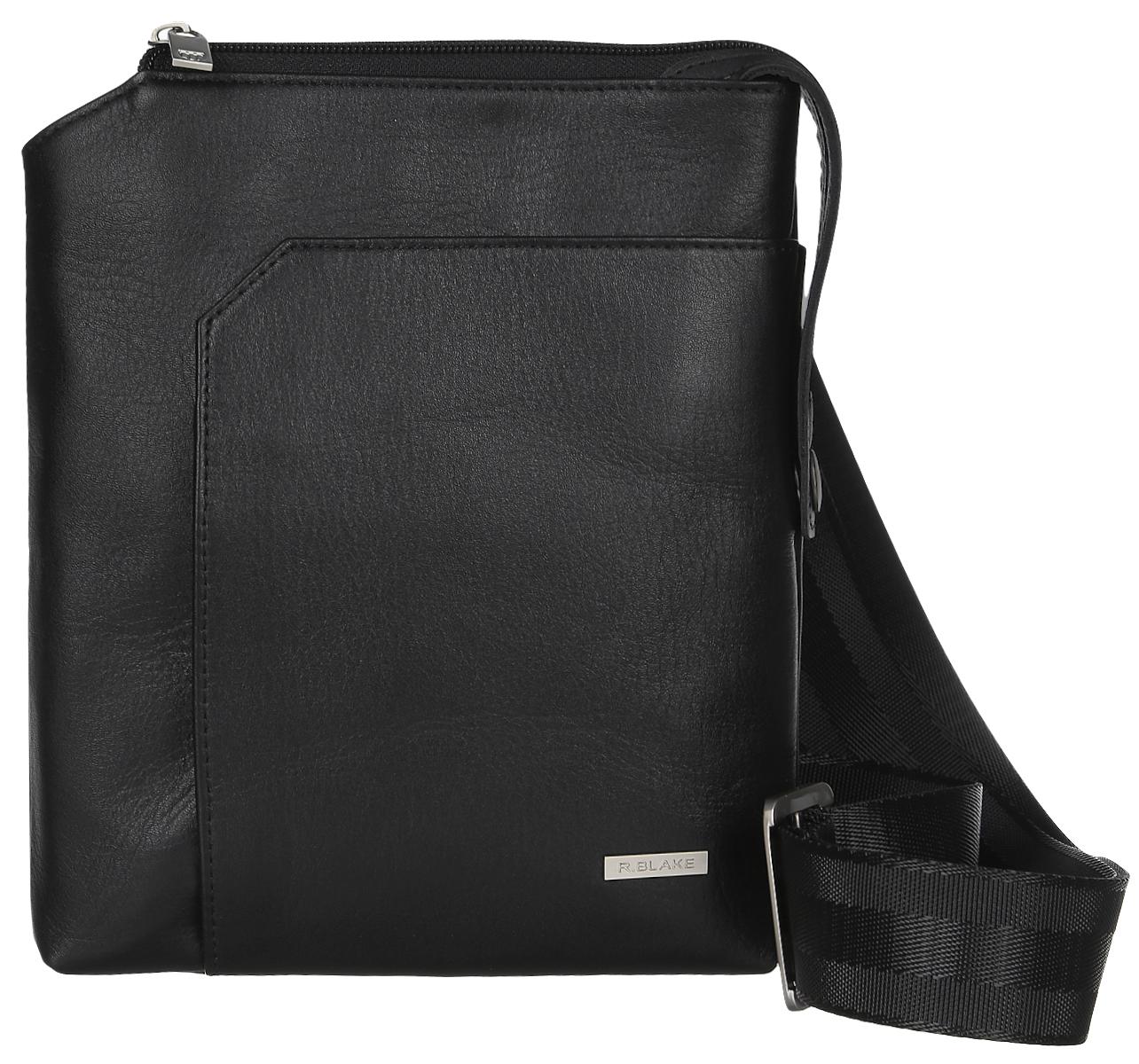 Сумка мужская R.Blake Matteo, цвет: черный. GMTT00-00ML06-A0201O-K10273298с-1Стильная мужская сумка R.Blake Matteo выполнена из натуральной кожи и текстиля. Изделие имеет одно отделение, которое закрывается на застежку-молнию. Внутри сумки расположен открытый накладной карман. Снаружи, на передней стенке находится накладной карман на магните, на задней стенке - нашивной открытый карман. Сумка оснащена текстильным плечевым ремнем, который регулируется по длине.Стильная сумка идеально подчеркнет ваш неповторимый стиль.