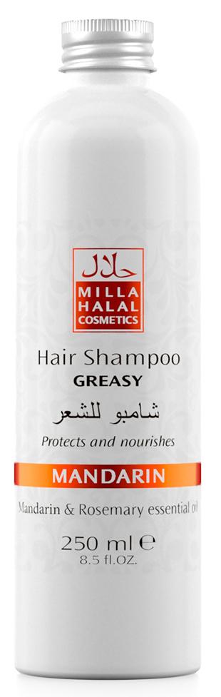 Milla Halal Cosmetics Шампунь для жирных волос с маслами мандарина и розмарина MILLA MANDARIN 250МЛ10766100% натуральный продукт. Шампунь для жирных волос, благодаря входящему в его состав масла листьев Розмарина, которое имеет мощный лечебный эффект, используется для укрепления ослабленных волос. В процессе использования масла листьев розмарина происходит стимуляция роста волос, укрепляются волосяные луковицы, одновременно увлажняется и насыщается витаминами кожа головы, что способствует дезинфекции и устранению перхоти. Розмарин также препятствует выпадению волос и появлению седины.
