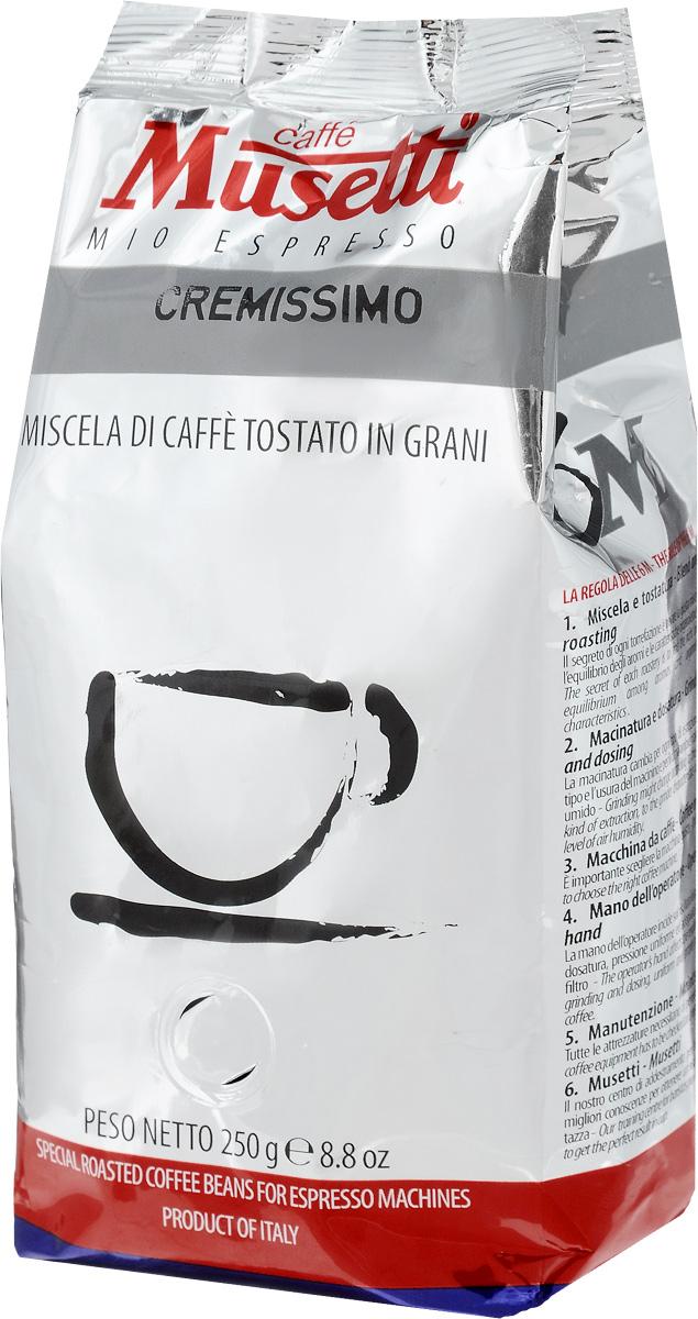 Musetti Cremissimo кофе в зернах, 250 г0120710Кофе в зернах Musetti Cremissimo - натуральный жареный кофе.Исключительные вкусовые и ароматические свойства арабики, обогащенные плотностью и кремообразностью африканской робусты, делают эту смесь идеальной для приготовления изысканного итальянского эспрессо, плотного, с шоколадным послевкусием.