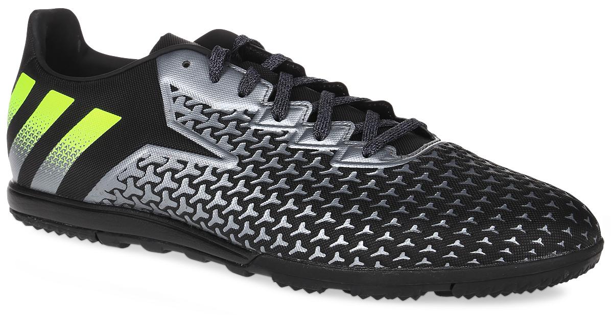 "Бутсы мужские Adidas ""Ace 16.2 cage"", цвет: черный, серый, желтый. Размер 11,5 (45) S31930"
