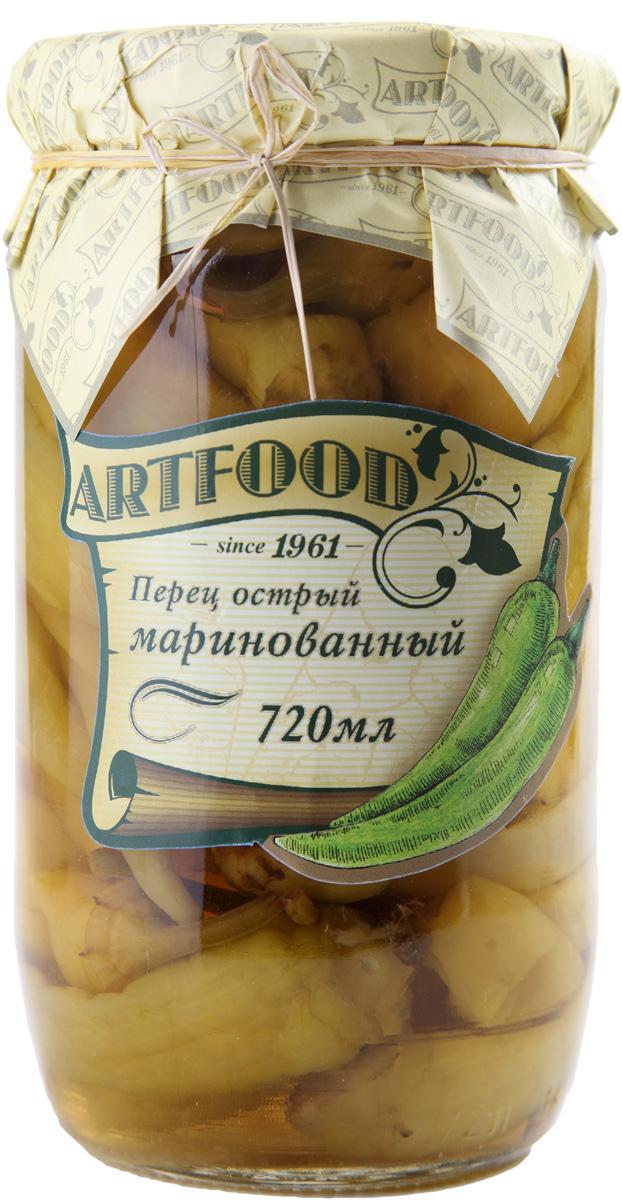 Artfood перец острый маринованный, 720 мл0120710Острый маринованный перец Artfood для любителей пикантных блюд.Его можно использовать как самостоятельную закуску или добавлять к мясу, в салаты и супы.