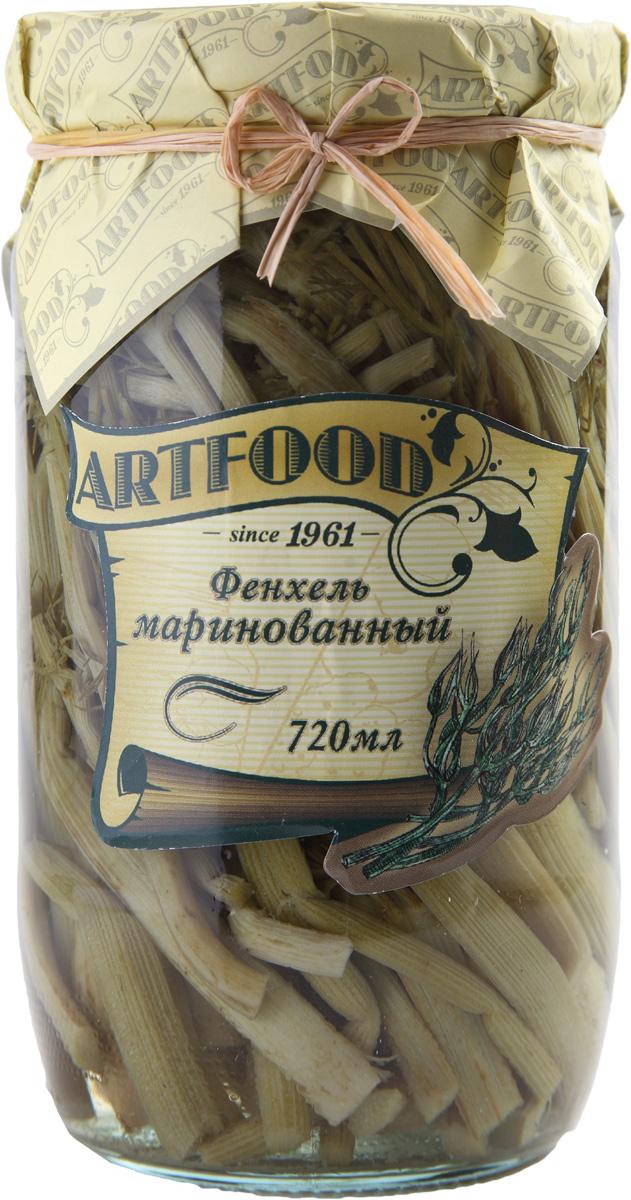 Artfood фенхель маринованный, 720 мл0120710Фенхель - это овощ, в котором полностью отсутствуют жиры и крахмал, поэтому в нем минимальное количество калорий. В фенхеле содержится много воды, поэтому его употребляют как мочегонное средство, а также как средство для повышения аппетита.Маринованный фенхель - отличная закуска к мясу. Его можно добавлять в салаты и супы для пикантности и аромата.