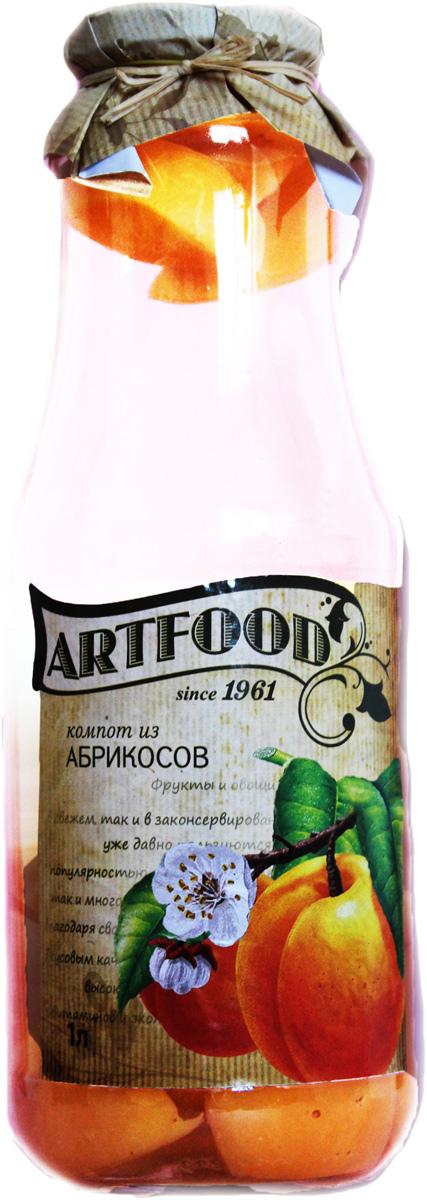 Artfood компот из абрикоса, 1 л0120710Компот обладает множеством полезных свойств в сравнении с другими жидкостями. В отличие от воды в нём содержатся витамины. От соков компот отличается тем, что не содержит такого обильного количества кислот, которые могут негативно повлиять на желудок