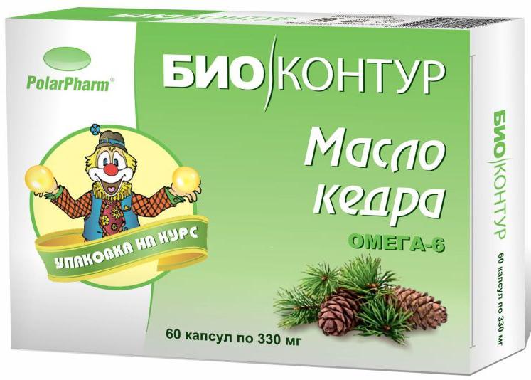 Масло кедровое БиоКонтур, в капсулах 330 мг, №604607097011924Масло кедровое БиоКонтур в капсулах 330 мг №60 способствует нормализации уровня холестерина, способствует улучшению обмена липидов Состав: масло кедровое, оболочка (желатин, глицерин (пластификатор), вода), витамин Е. Товар не является лекарственным средством. Могут быть противопоказания и следует предварительно проконсультироваться со специалистом.