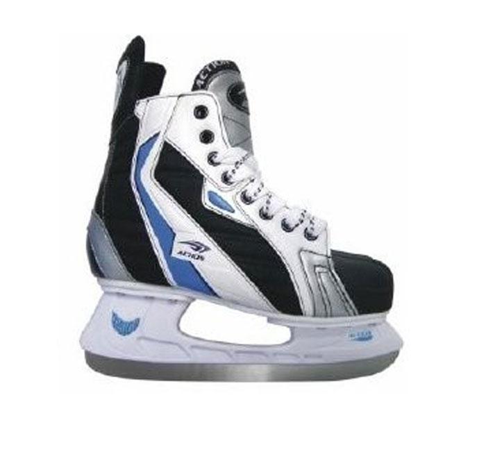 Коньки хоккейные Action, цвет: черный. PW-216AE. Размер 45 PW-216AE_45