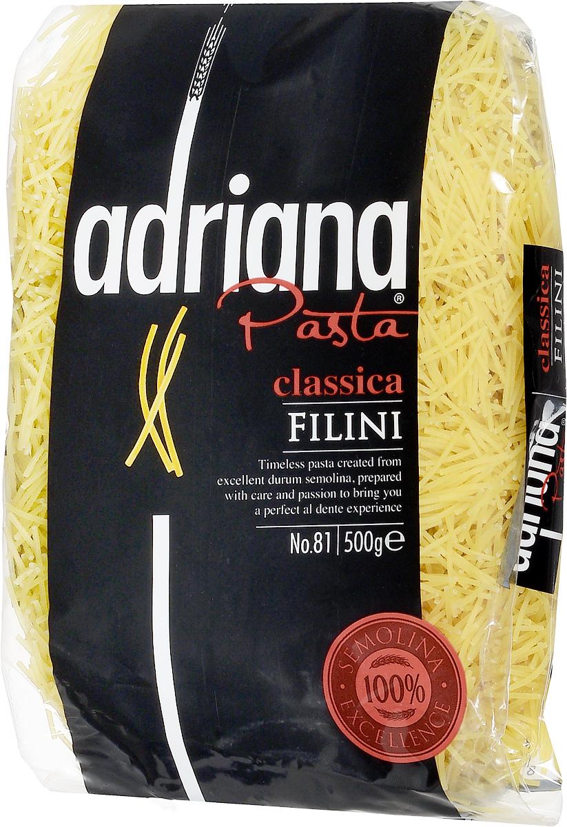 Adriana Filini паста, 500 г15017Adriana - высококачественная паста из 100% семолины. Только 100% семолина или качественная мука из специальных твердых сортов пшеницы гарантирует, что паста, даже после превышения рекомендуемого времени приготовления, не разварится и не слипнется после охлаждения. Рекомендуется использовать для детского супчика.