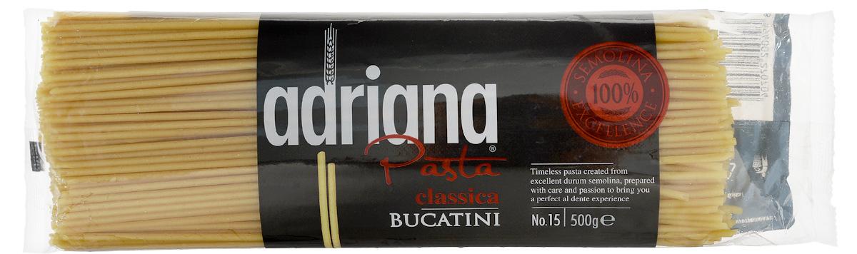 Adriana Bucatini паста, 500 г0120710Adriana - высококачественная паста из 100% семолины. Только 100% семолина или качественная мука из специальных твердых сортов пшеницы гарантирует, что паста, даже после превышения рекомендуемого времени приготовления, не разварится и не слипнется после охлаждения. Bucatini или, как принято их называть в России, макароны. Благодаря отверстиям в середине макарон, вас ждет исключительное вкусовое наслаждение. Соус попадает внутрь макаронных изделий именно в процессе приготовления. Они так великолепны в легком сочетании с любым соусом, в том числе и с низким содержанием жира.
