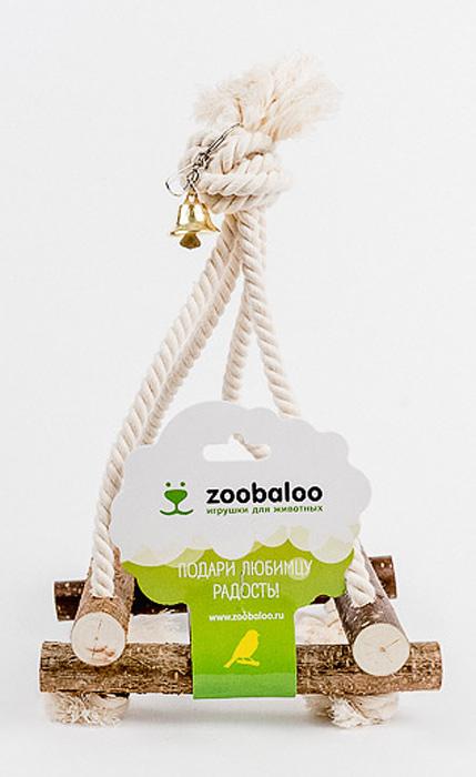 Игрушка для птиц Zoobaloo Качели546Игрушка Zoobaloo Качели - это отличный аксессуар для клетки ваших пернатых друзей. Качели выполнены в виде деревянных жердочек из орешника, оборудованы маленьким колокольчиком и металлическим карабином для подвешивания к клетке. Чтобы обезопасить лапки пернатых любимцев, брусочки соединены хлопковой веревкой.