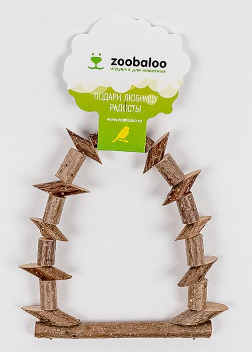 Игрушка для птиц Zoobaloo Качели из брусочков. 553553Игрушка Zoobaloo Качели из брусочков в отличие от пластмассовых аналогов производится из высококачественных натуральных материалов и полностью безопасна для ваших питомцев. Качели изготовлены из веток орешника и оснащены карабином для подвешивания в клетке.