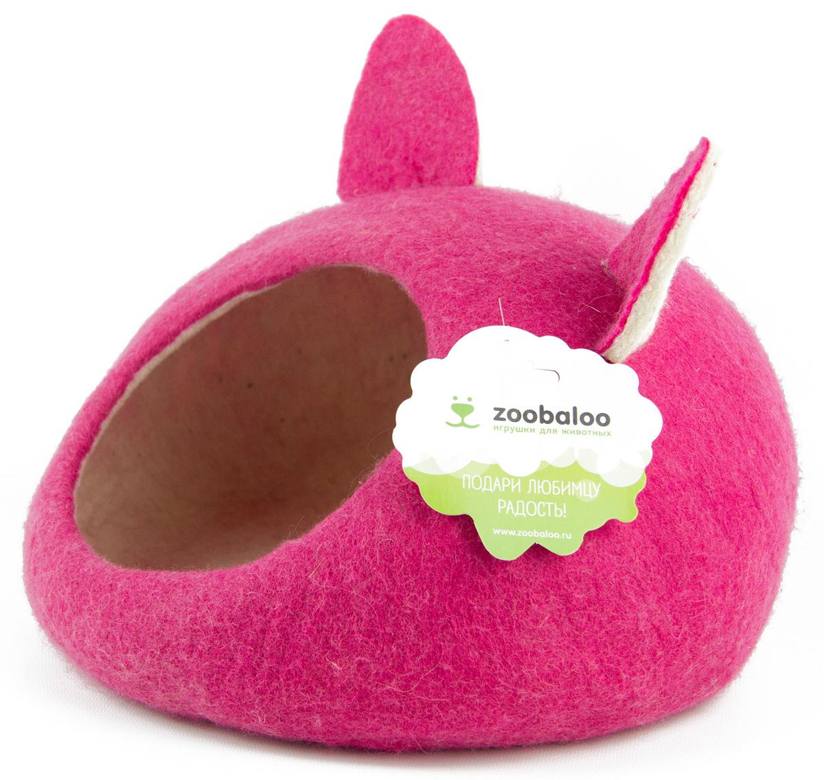 Домик-слипер для животных Zoobaloo WoolPetHouse, с ушками, цвет: малиновый, размер S домик слипер для животных zoobaloo woolpethouse с ушками цвет оранжевый размер m