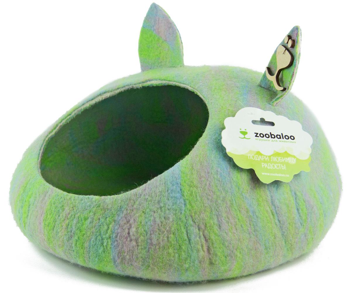 Домик-слипер Zoobaloo WoolPetHouse, размер М, форма круг, с ушками, мультиколор салатовый домик слипер для животных zoobaloo woolpethouse с ушками цвет оранжевый размер m