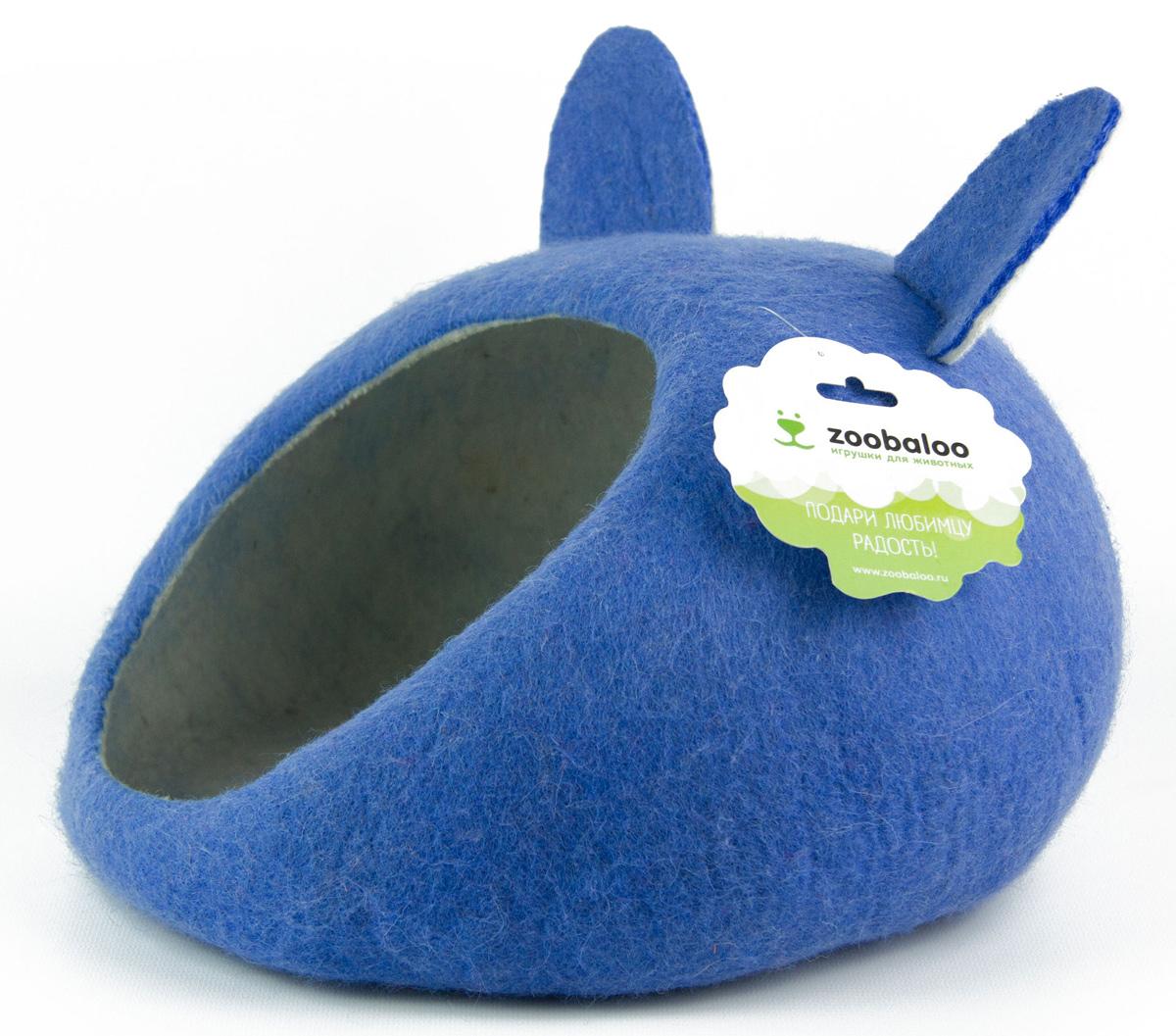 Домик-слипер Zoobaloo WoolPetHouse, размер M, форма круг, с ушками, синий домик слипер для животных zoobaloo woolpethouse с ушками цвет оранжевый размер m
