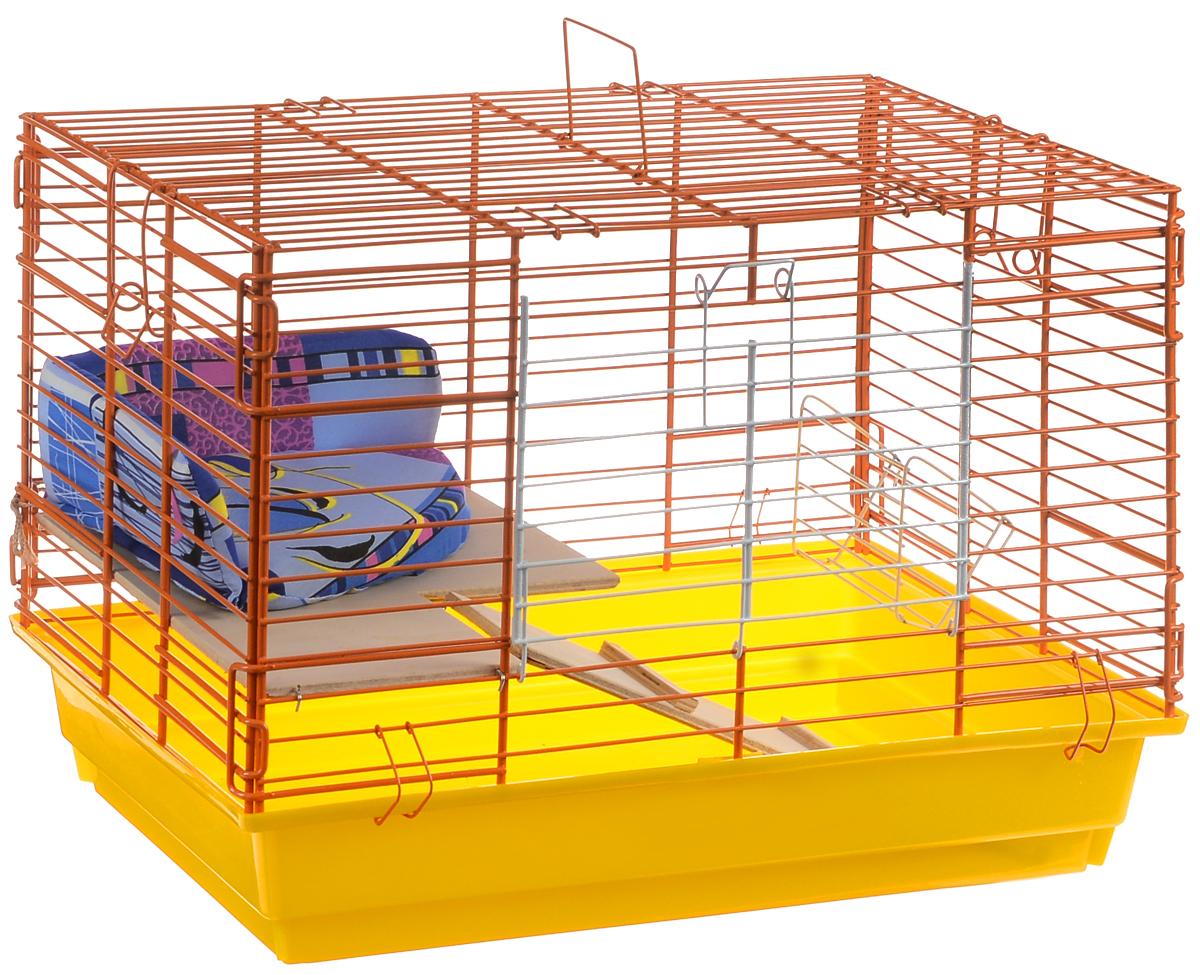 Клетка для кроликов ЗооМарк, 2-этажная, цвет: желтый поддон, оранжевая решетка, 59 х 39 х 41 см650ЖОКлетка для кроликов ЗооМарк, выполненная из металла и пластика, предназначена для содержания вашего любимца. Клетка имеет прямоугольную форму, очень просторна, оснащена съемным поддоном. Она очень легко собирается и разбирается. Для удобства вашего питомца в клетке предусмотрен мягкий уголок, в котором кролик сможет отдохнуть. Такая клетка станет для вашего питомца уютным домиком и надежным убежищем.