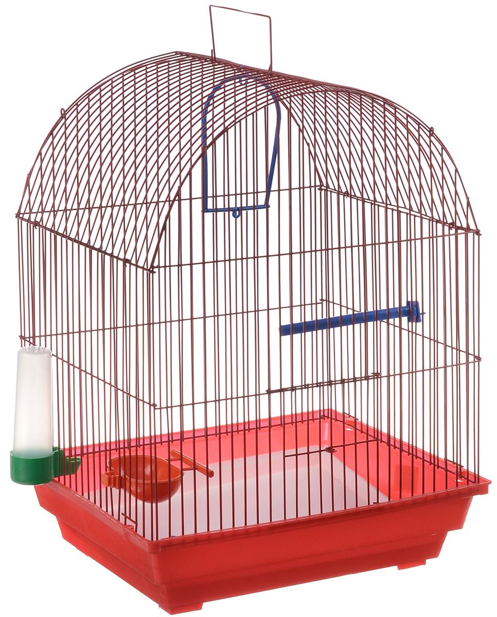 Клетка для птиц ЗооМарк, цвет: красный поддон, красная решетка, 35 х 28 х 45 см440КККлетка ЗооМарк, выполненная из полипропилена и металла, предназначена для мелких птиц. Вы можете поселить в нее одну или две птицы. Изделие состоит из большого поддона и решетки. Клетка снабжена металлической дверцей, которая открывается и закрывается движением вверх-вниз. В основании клетки находится малый поддон. Клетка удобна в использовании и легко чистится. Она оснащена жердочкой, кольцом для птицы, кормушкой, поилкой и подвижной ручкой для удобной переноски.