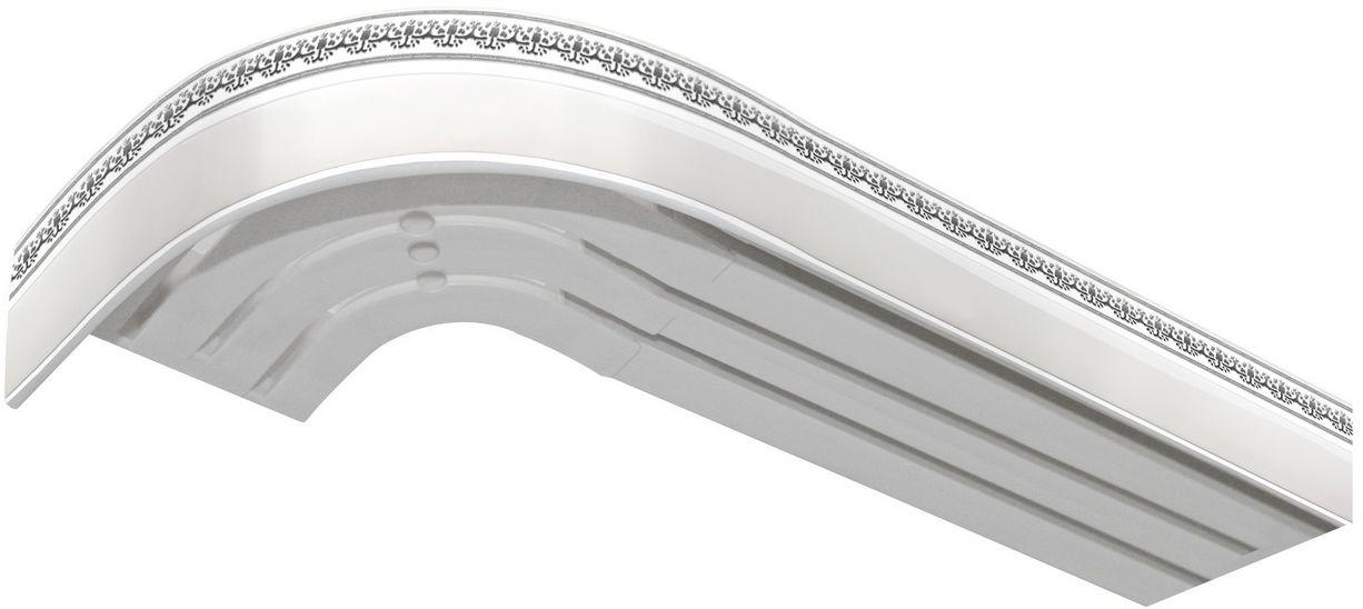 Багет Эскар Серебро Дамаск, цвет: белая подложка, серебристый, 5 х 240 см2901121240Багет Эскар представляет собой изготовленную из поливинилхлорида (ПВХ) полую пластину, применяющуюся как потолочный карниз. Багет для карниза крепится к карнизным шинам. Благодаря багетному карнизу, от взора скрывается верхняя часть штор (шторная лента, крючки), тем самым придавая окну и интерьеру в целом изысканный вид и шарм.