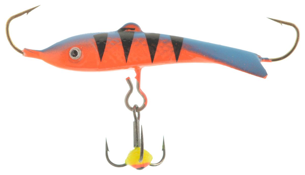 Балансир Dixxon Classic, цвет: синий, черный, оранжевый, длина 4 см, 7 г. 5848658486Балансир Dixxon Classic удлиненной формы c тремя крючками предназначен для ловли средних рыб со льда и на мелководье. Изделие изготовлено из прочного металла и оснащено тройным крючком и высококачественными впаянными крючками. Форма этого балансира напоминает мелкую рыбку. Балансир окрашен в яркие цвета, что делает его более заметным и позволяет привлечь рыбу с более дальнего расстояния.
